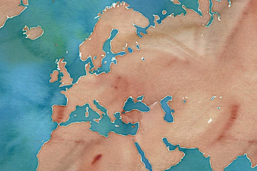 A watercolour map of Europe